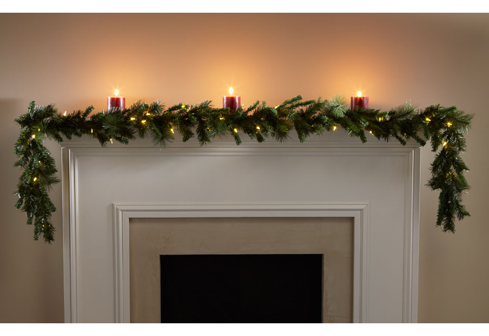 christmas garland with battery operated lights