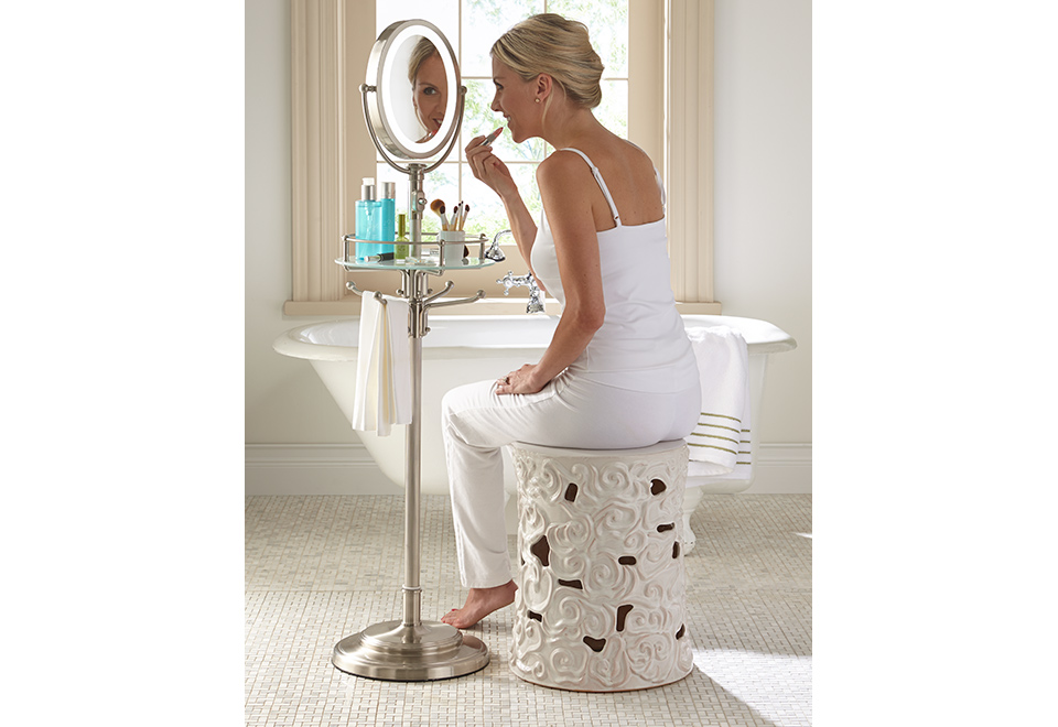 Cordless Led Floor Stand Mirror Sharper Image