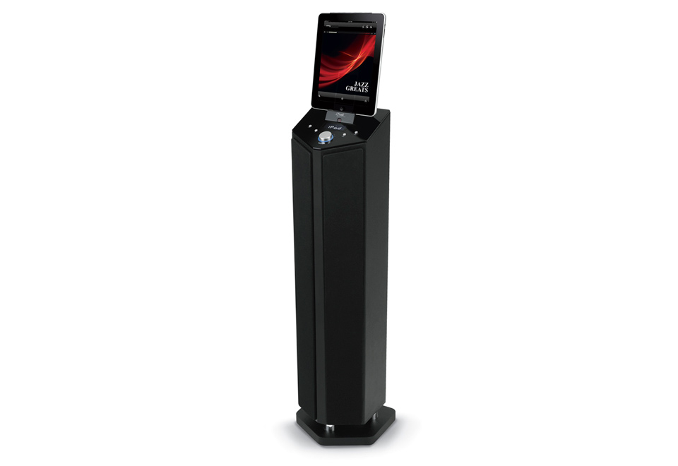 Tablet And Smartphone Wireless Tower Speaker At Sharper Image
