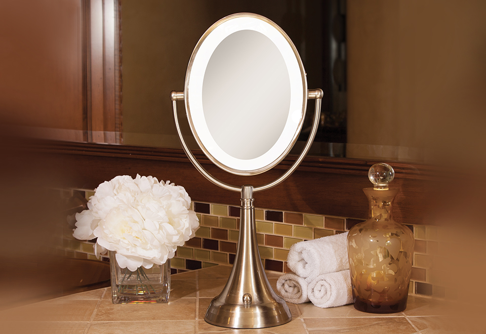 Cordless Oval Vanity Mirror Sharper Image