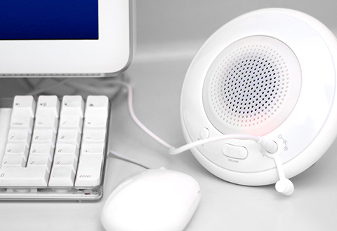 Floating Bluetooth Speaker And Mood Light At Sharper Image