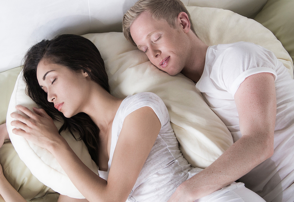 Memory Foam Couples Snuggle Pillow Sharper Image
