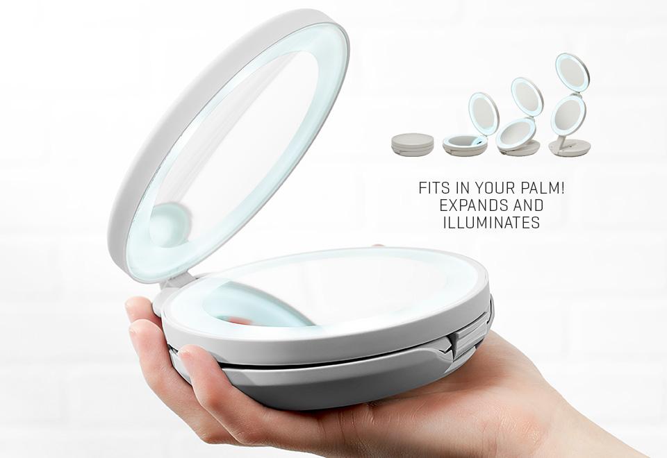 Dual Lighted Led Travel Mirror Sharper Image