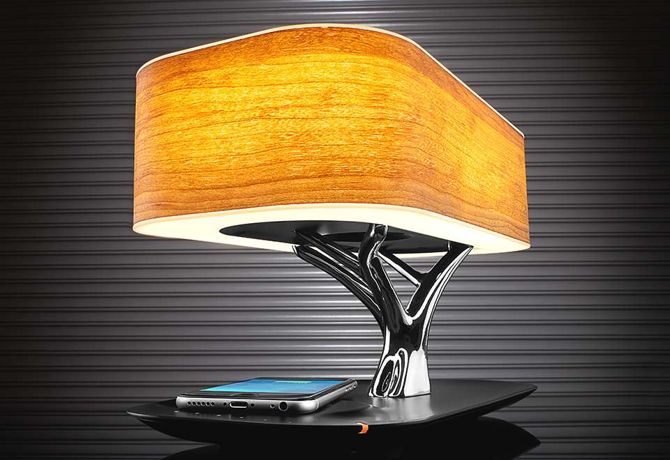 Bonsai Bluetooth Speaker Lamp With Wireless Charging Pad Sharper Image